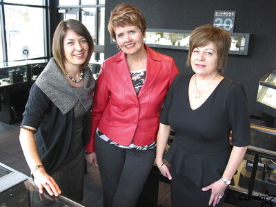 From left to right: Lisa Malbranck, Leslie Malcolmson and Anita Malbranck at the Diamond Gallery on Corydon Avenue.