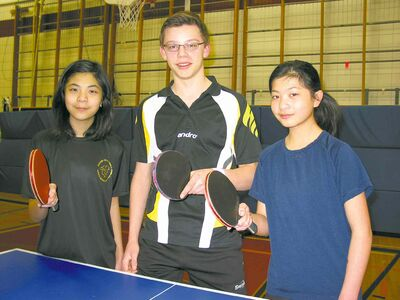 From left to right: Table tennis players Kaitlyn Su, Matthew Lehmann, and Shaelynn Su are heading to the 2014 Manitoba Games next month.