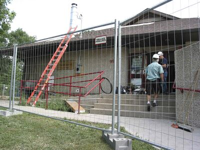 Crew members are pictured working at Windsor Community Centre the day after a fire caused around $500,000 worth of damage at the Elm Park-based facility.