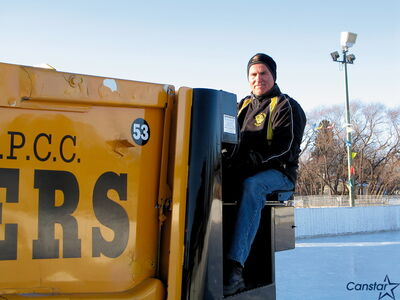 "Marcy Beaucage is known as the ""Ice Man"" at Roblin Park Community Centre."