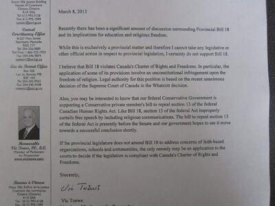 The letter was posted on Steinbach Tory MLA Kelvin Goertzen's Facebook page late Friday afternoon.