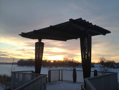 Mainly cloudy skies covered  the Festival du Voyageur site in St. Boniface this morning.