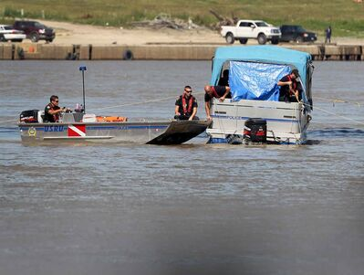 River patrols continue searching just north of the Provencher Bridge Saturday after he went missing in the Red River on Friday afternoon near the Provencher Bridge.
