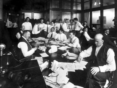 The Manitoba Free Press newsroom in July 1919, just days after the strike ended.