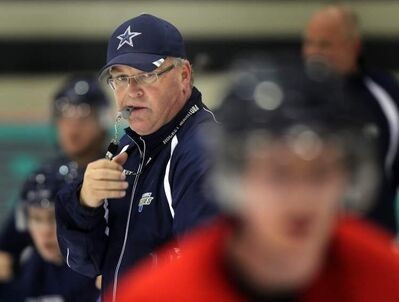 Winnipeg Blues head coach Don MacGillivary (above) at a team workout last week at the MTS IcePlex.