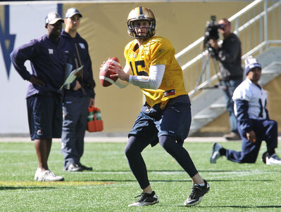 Max Hall at practice at Investors Group Field this afternoon.