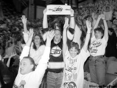 MAY 6, 1995: Fans do the wave in a final goodbye to the Winnipeg Jets  at Winnipeg Arena  also known as The Funeral. The event  featured a tribute to Thomas Steen that turned out to be an emotional goodbye from the 15,000 who attended.