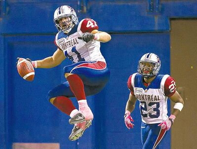Nathan Denette / the canadian press archivesShea Emry (41) is the Alouettes� nominee for top defensive player.