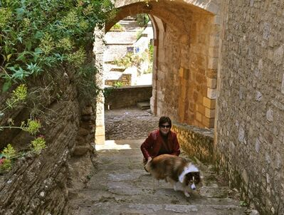 "Chula, a 30-pound Shetland sheepdog and veteran traveler, explores Provence with her owner, Sheron Long in Maubec, France. Travel for humans during holidays is tough enough: Long lines, crowds everywhere, extra bags full of presents. Throw a pet in the mix, and it's a recipe for disaster. Long is the author of ""Dog Trots Globe - To Paris and Provence."" (AP Photo/Sheron Long, Robert Long)"