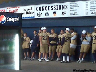 Due to a light rain, the Bombers held their walk through under the west side stands at Canad Inns Stadium this morning.
