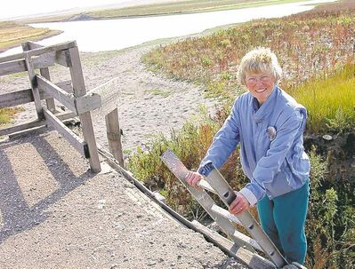 For Shirley Kernaghan, getting to work involves climbing and descending a couple of ladders and trekking through weeds.