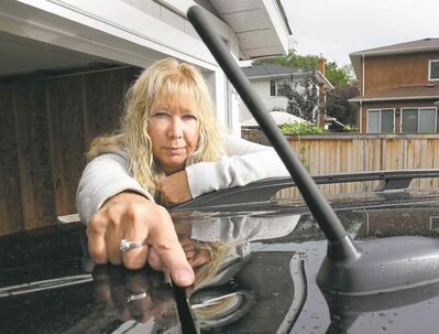 Darlene Korzinski's truck was damaged Sunday after she says it was hit by a baseball-sized rock.
