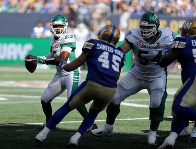 Saskatchewan Roughriders' Kevin Glenn (5) looks to pass against the Winnipeg Blue Bombers' during the first half of CFL football action in Winnipeg, Saturday, September 9, 2017. The intrigue continues regarding the status of Glenn.The Saskatchewan Roughriders starter suffered a right hand injury during the club's 48-28 loss Saturday to the Winnipeg Blue Bombers.THE CANADIAN PRESS/Trevor Hagan