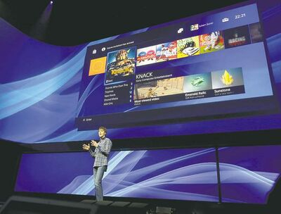 Frank Franklin II / THE ASSOCIATED PRESSSony�s Mark Cerny unveils the PlayStation 4 at an event in New York Wednesday.
