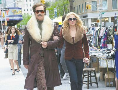 Fur goodness sakes: Will Ferrell and Christina Applegate in Anchorman 2: The Legend Continues.