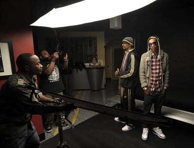 "In this photo taken Friday, Dec. 9, 2011, Rap artists Wiz Khalifa, right, and Snoop Dogg pose for photos in Atlanta. The pair have been touring together and are releasing new music including a soundtrack for their upcoming stoner movie ""Mac + Devin Go To High School"" (AP Photo/John Amis)"