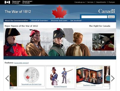 The home page of the War of 1812 government of Canada website is shown. THE CANADIAN PRESS/HO
