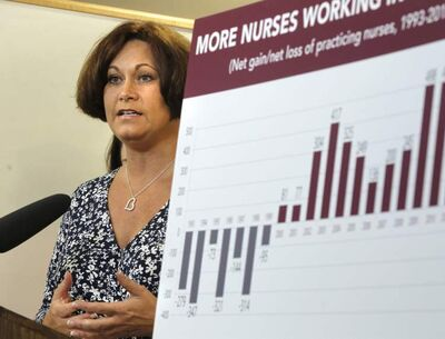Health Minister Theresa Oswald,  speaks at the announcement Tuesday that nurse practitioner students who agree to work in rural communities after graduating will be eligible for grants to cover their tuition costs. At right is a graph showing the net loss and gain of working nurses in Manitoba from 1993 to present.