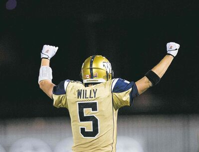 Nathan Denette / the canadian pressWinnipeg quarterback Drew Willy celebrates after throwing for the game-tying touchdown as time expired in the fourth quarter Thursday night.