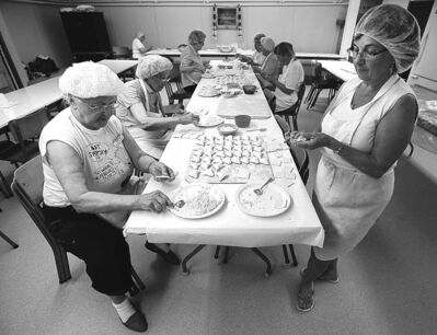 The perogy club in action at St. Ivan Suchavsky Ukrainian Orthodox Cathedral.