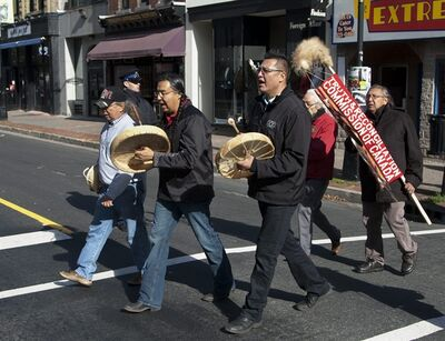 Participants head to the third round of the Truth and Reconciliation Commission national hearings in Halifax on Wednesday, Oct. 26, 2011. The commission has a five-year mandate to document the history of residential schools, inspire reconciliation and produce a report by 2014. THE CANADIAN PRESS/Andrew Vaughan