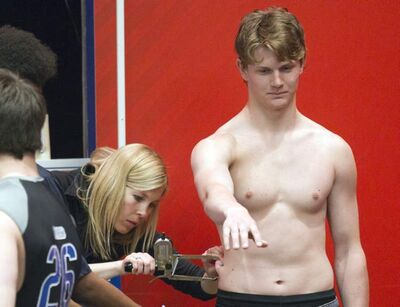 Jacob Trouba has his body fat measured at the 2012 NHL Combine in Mississauga, Ont. on June 1.