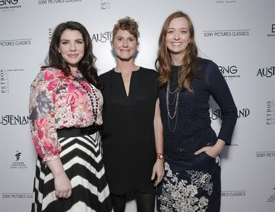 "FILE - In this Thursday, Aug. 8, 2013 file photo, Executive Producer Stephenie Meyer, left, Director Jerusha Hess, center, and writer Shannon Hale arrive at the Los Angeles premiere for Sony Pictures Classics' ""Austenland."" Meyer, author of the ""Twilight Saga"" vampire books, says she enjoyed the collaboration and socialization she experienced while producing ""Austenland."" (Photo by Todd Williamson/Invision for Sony/AP Images, File)"
