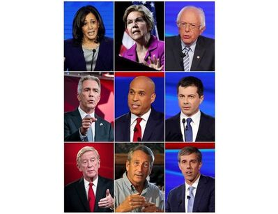 This combination photo shows, top row from left, Presidential candidates, Sen. Kamala Harris, Sen. Elizabeth Warren, Sen. Bernie Sanders, middle row from left, former Congressman Joe Walsh, Sen Cory Booker and South Bend Mayor Pete Buttigieg, and bottom row from left, Former Massachusetts Gov. Bill Weld, former South Carolina Gov. Mark Sanford and former Congressman Beto O'Rourke, who will participate in an hour-long special about climate change, airing Nov. 7. (AP Photo)