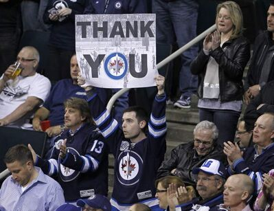 Winnipeg Jets fans at their final game of the season against the Tampa Bay Lightning.