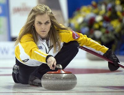 Manitoba skip Jennifer Jones releases her rock during second draw curling action against British Columbia at the Scotties Tournament of Hearts Sunday, in Kingston, Ont.