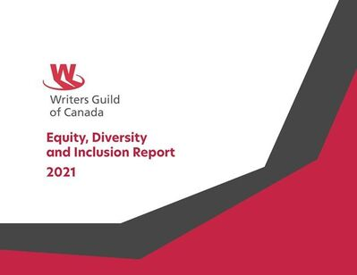 A Writers Guild of Canada report, the cover of which is shown in a handout, says while its members in the TV industry have seen steady progress on diversity issues, gaps still remain. THE CANADIAN PRESS/HO