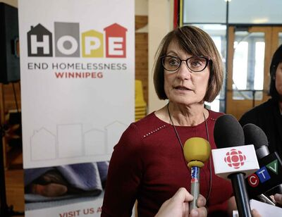Lucille Bruce, CEO, End Homelessness Winnipeg, talks to the media after her organization launches its 5-Year Plan at Thunderbird House Monday.