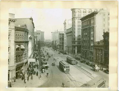 Looking north on Main Street in 1919. Streetcars played a big role in the rolling out of electricity in Winnipeg.