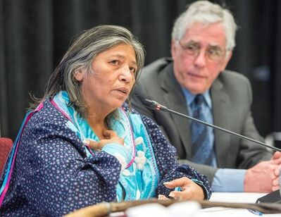 Mohawk elder Sedalia Fazio makes her opening statement as Jacques Viens, head of Quebec's Indigenous inquiry, looks on before the start of proceedings Monday, February 12, 2018 in Montreal.THE CANADIAN PRESS/Ryan Remiorz
