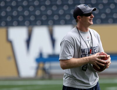 Winnipeg Blue Bomber coach Mike O'Shea in practice Monday July 21, 2014