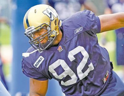 Defensive lineman Bryant Turner works up a sweat doing a line drill during a Winnipeg Blue Bombers practice at Canad Inns Stadium on Tuesday.