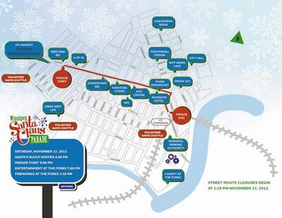 Winnipeg Santa Claus Parade map 2012