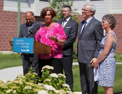 Health Minister Theresa Oswald speaks at the announcement of two new personal care homes to be built in south and northeast Winnipeg.