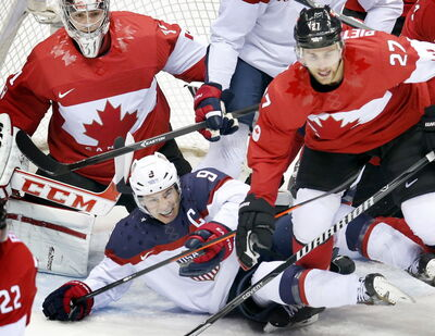 Team USA captain Zach Parise learned the hard way just how little room Canada was offering in front of goalie Carey Price in Friday's semifinal.