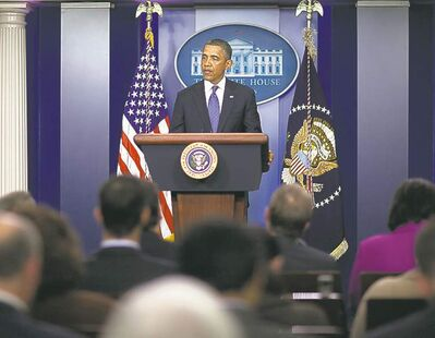 ANDREW HARRER / MCCLATCHY TRIBUNE NEWS SERVICEU.S. President Barack Obama briefs the media on the White House fiscal cliff talks.