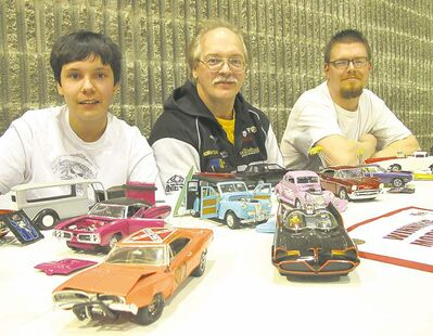 For many in the automotive hobby it all begins with model kits. Left to right, Chandler Bannister, Nigel Bannister and Roland Ritchot from the Winnipeg Model Car Club.