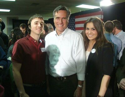 "University of Ottawa student and Conservative supporter Andrea Sarkic poses with Republican candidate Mitt Romney, along with her boyfriend Patrick Osland, in this recent handout photo, in New Hampshire. Forget the ""foreign radicals"" the Conservatives say are infiltrating the oil pipeline debate — some young Tories recently made their own forays into the American political scene. THE CANADIAN PRESS/HO"