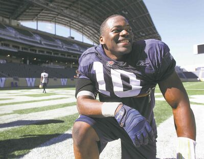 Bombers linebacker Henoc Muamba becomes extremely cagey when asked about his future plans.