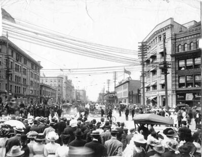 Strikers and citizens gather at Portage Avenue and Main Street during the 1919 General Strike.