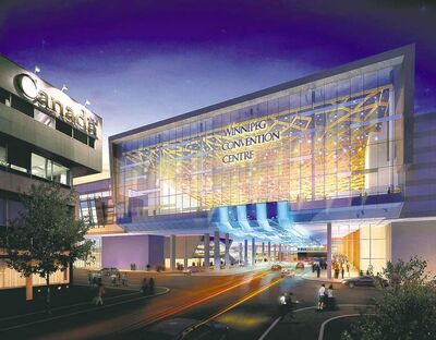 An artist's depiction of the bigger convention centre over York Avenue.