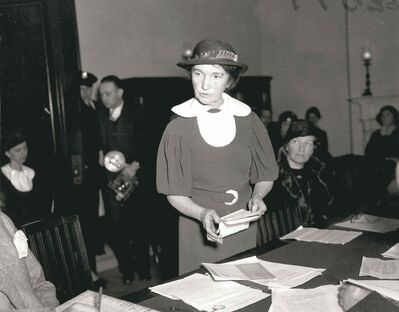 In this 1934 photo, Margaret Sanger appears before a Senate committee for federal birth-control legislation in Washington, D.C.