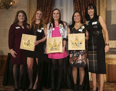 Jason Halstead photo</p><p>Future Leaders of Manitoba president Patricia Katz (from left), winners Margaux Miller, Laryssa Sawchuk and Jessica Dumas, and CEO of Economic Development Winnipeg Dayna Spiring.</p></p>