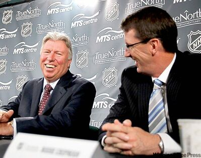 WAYNE.GLOWACKI@FREEPRESS.MB.CA Pierre Blouin and Mark Chipman (from left) announce  deal that will see arena name remain unchanged.
