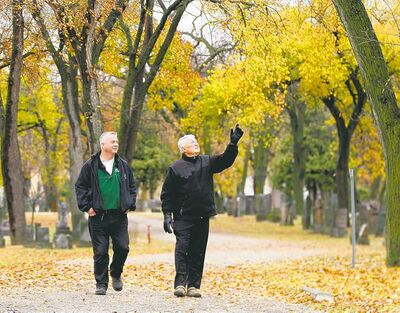 KEN GIGLIOTTI / WINNIPEG FREE PRESS Elmwood Cemetery executive director Bob Filuk (right) and Matt Vinet of the International Society of Arboriculture look over Elmwood's elms.