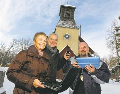 Gay Boese (from left), Laurie Beachell and Scott Macauley outside Lockport's Little Britain United Church.